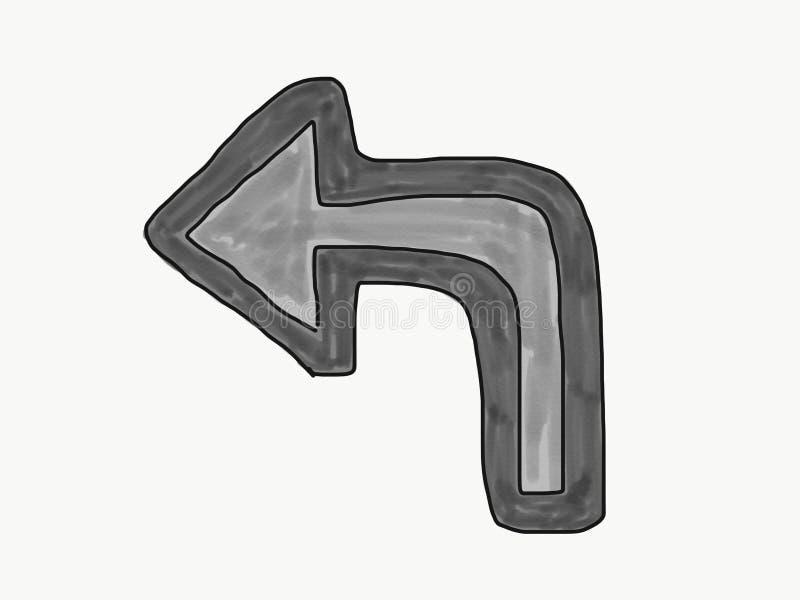 抽象手凹道乱画向左转箭头标志孤立,例证,文本的,水彩油漆样式拷贝空间 向量例证