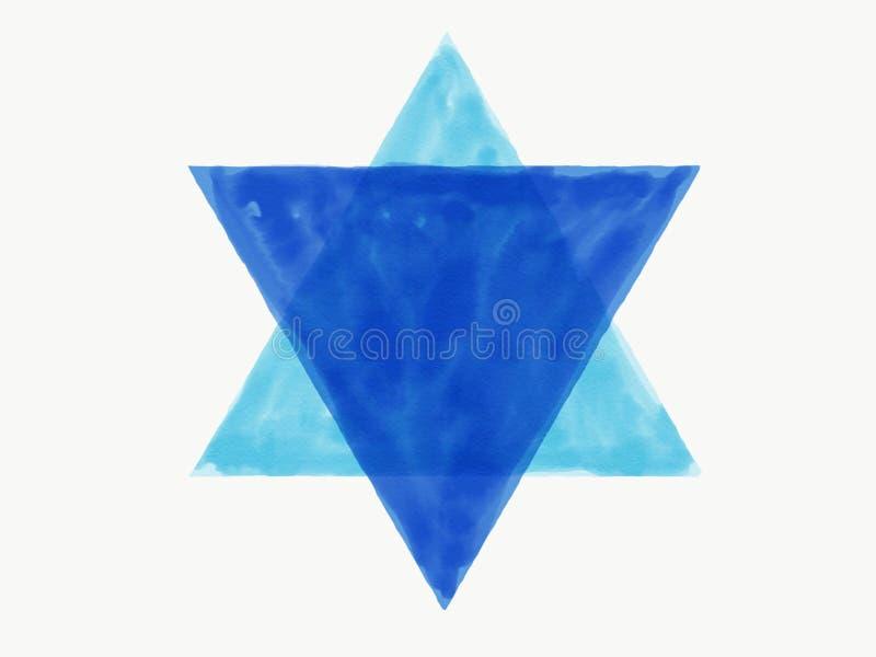 抽象手凹道样式蓝色背景商标孤立,例证,水彩油漆 免版税图库摄影