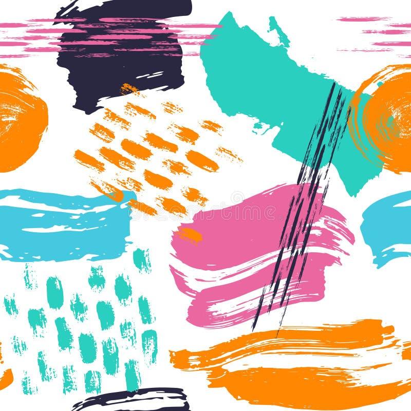 抽象手拉的不同的形状掠过冲程无缝的样式样片 库存例证