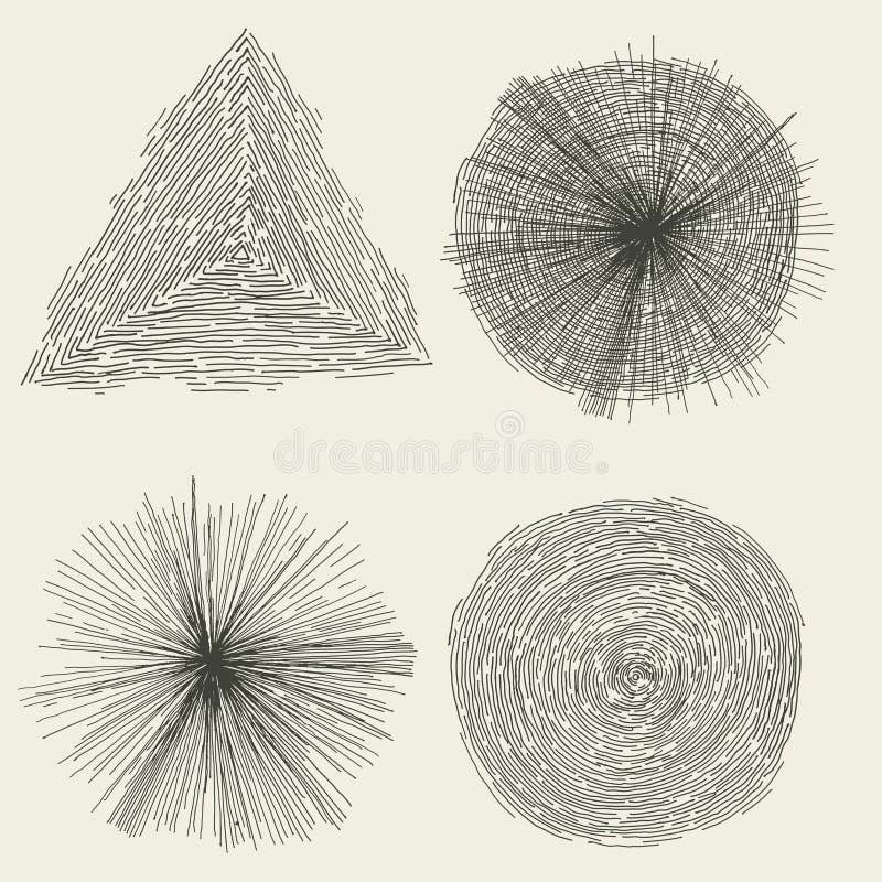 抽象手拉的圈子,飞溅并且塑造 向量例证
