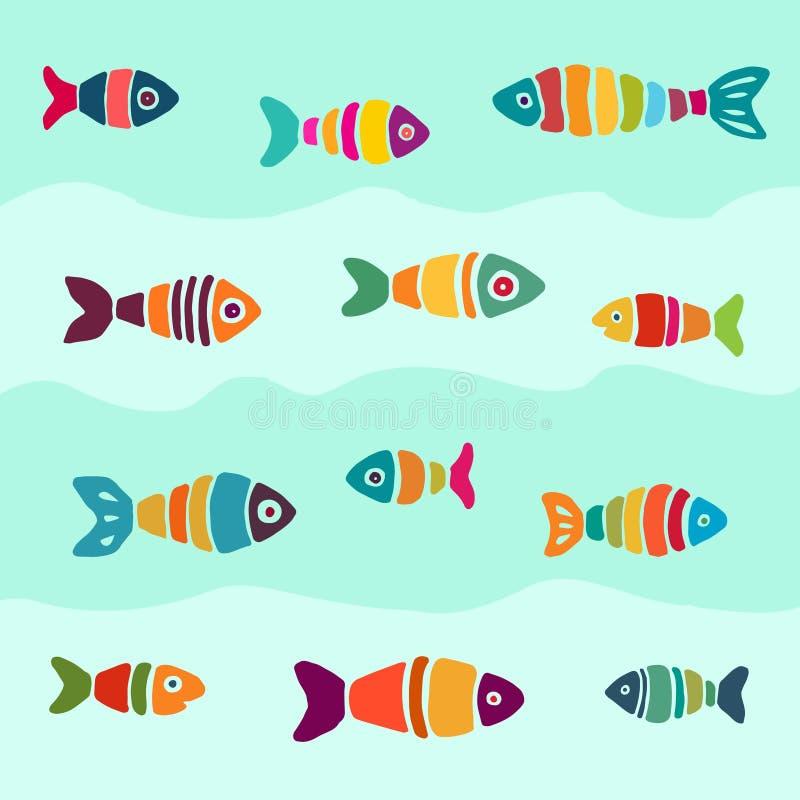 抽象手拉的多彩多姿的鱼荚  库存例证