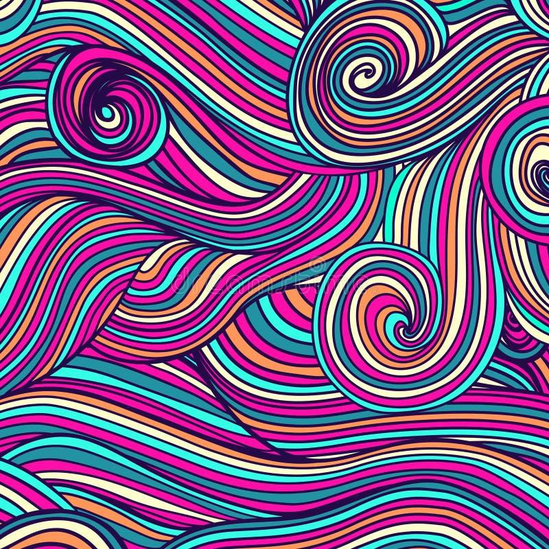 抽象手拉的波浪纹理,波浪背景 皇族释放例证