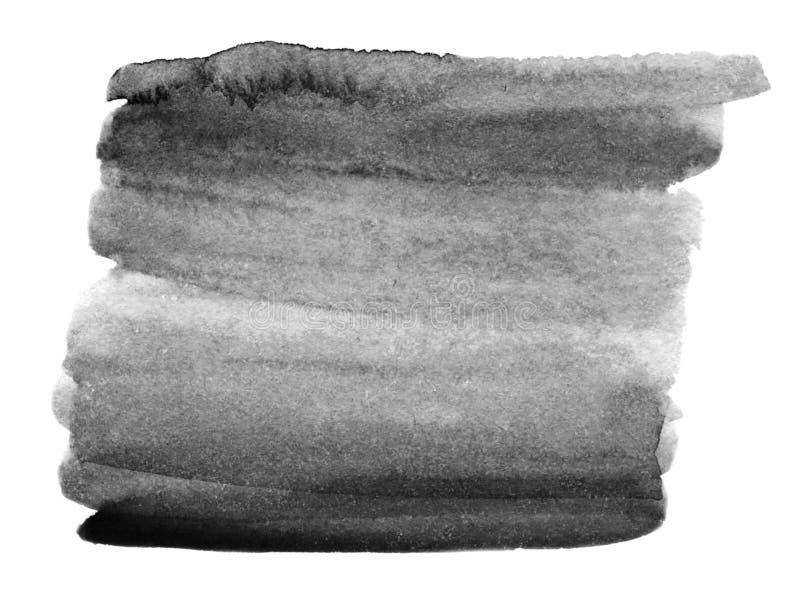 抽象手拉的灰色水彩背景 黑色白色 向量例证