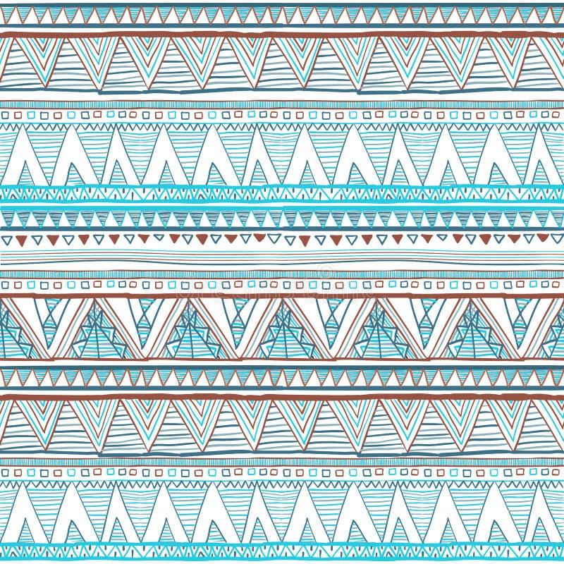 抽象手拉的种族样式,部族背景 上色模式可能的变形多种向量 蓝色种族无缝 皇族释放例证