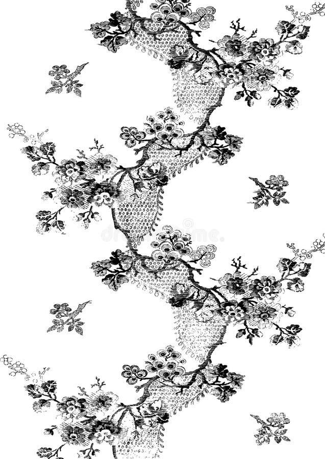 01抽象手拉的花卉样式 皇族释放例证