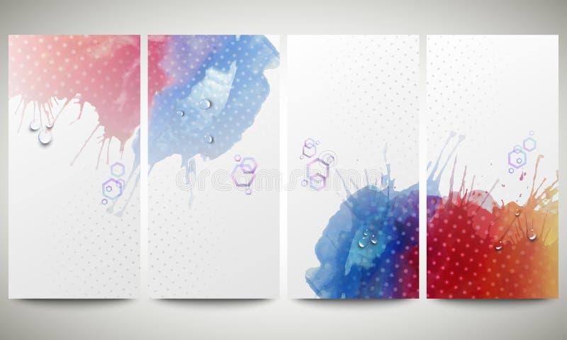抽象手拉的水彩背景与 皇族释放例证