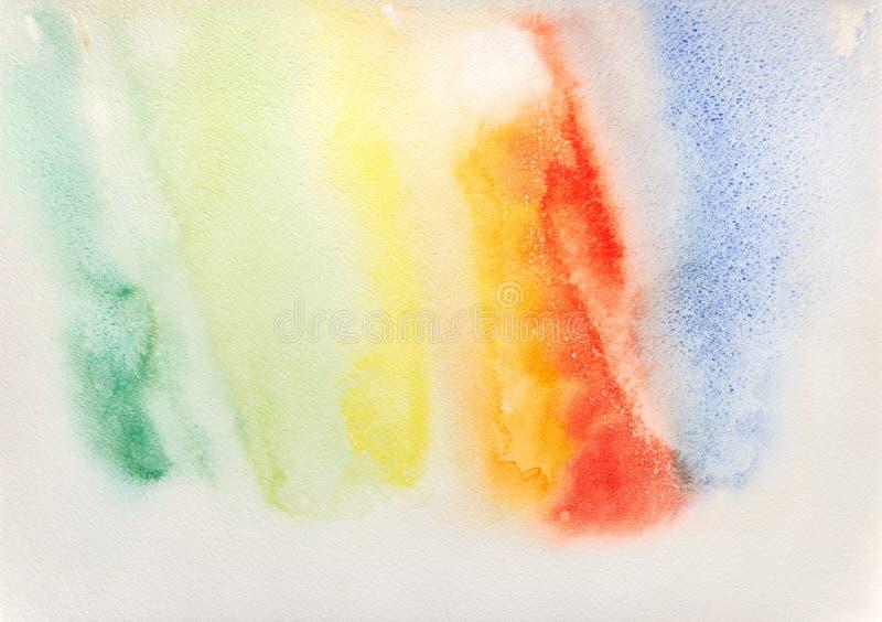 抽象手画在纸的彩虹水彩五颜六色的湿背景 免版税图库摄影