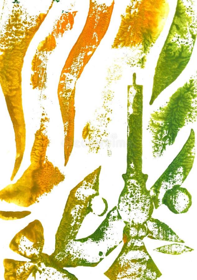 抽象手画水彩背景 设计的装饰混乱五颜六色的纹理 在纸的手拉的图片 手工制造 皇族释放例证