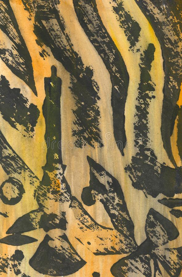 抽象手画水彩背景 设计的装饰混乱五颜六色的纹理 在纸的手拉的图片 手工制造 向量例证