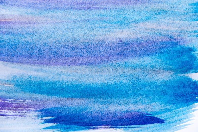 抽象手画蓝色油漆帆布背景 抽象背景蓝色水彩 艺术在白色的手油漆 图库摄影