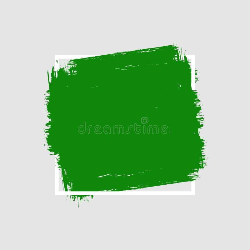 抽象手画刷子冲程正方形隔绝与边界框架 库存例证