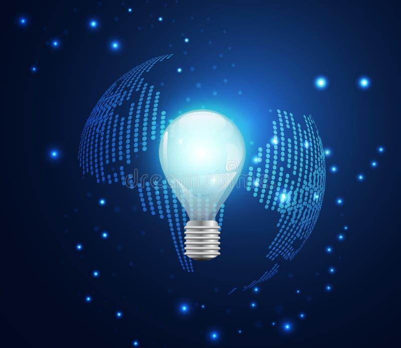 抽象技术企业概念世界数字式链接和ligh 向量例证
