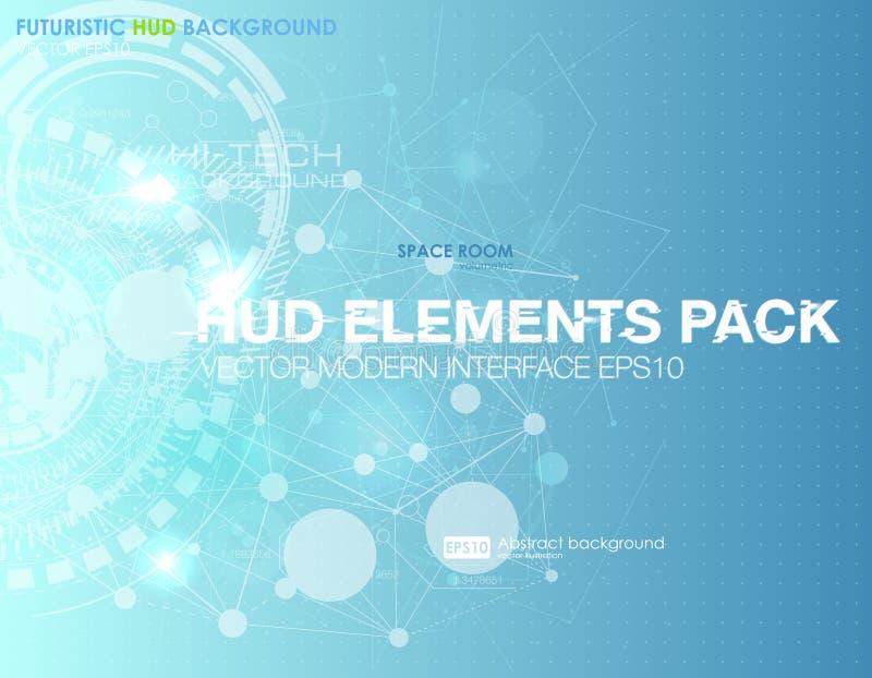 抽象技术传染媒介背景 HUD UI通信概念横幅在现代蓝色的背景中 向量例证