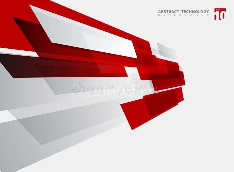 抽象技术几何红颜色发光的行动背景 向量例证