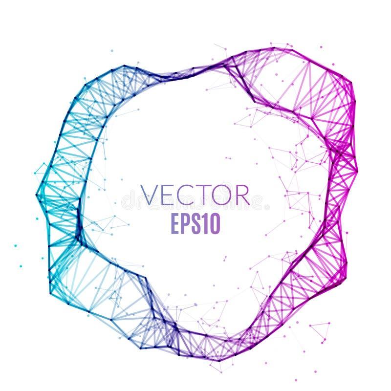 抽象技术多角形圈子 未来派网络概念 创造性的横幅 皇族释放例证