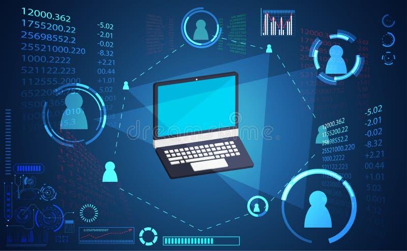抽象技术数字式链接网络连接,膝上型计算机链接 皇族释放例证