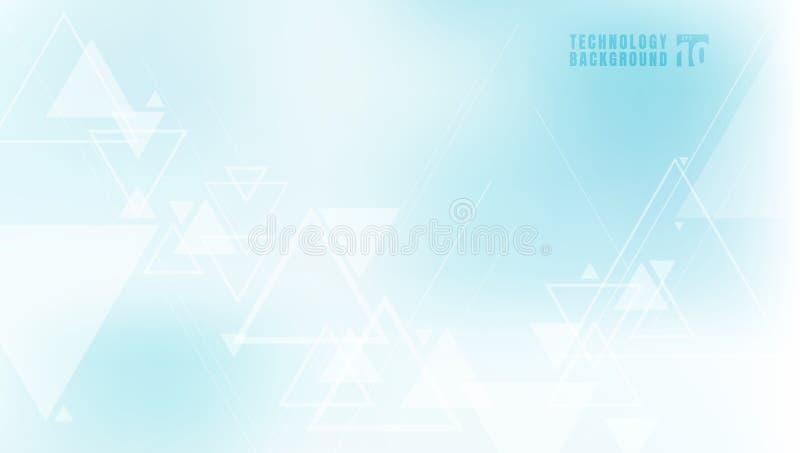 抽象技术概念几何三角和线在蓝色背景 连接科学和未来派技术,数字 库存例证