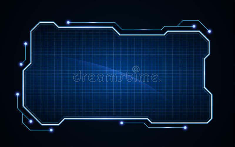 抽象技术科学幻想小说全息图框架模板设计背景 皇族释放例证