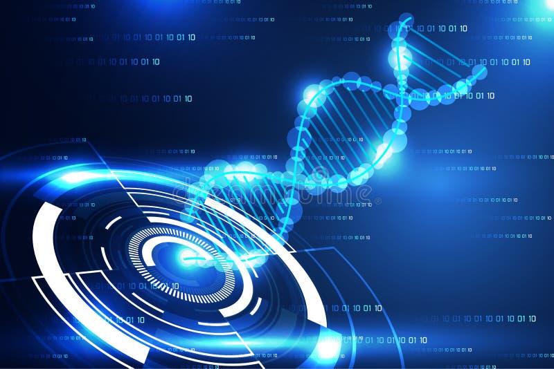 抽象技术科学概念现代圈子和脱氧核糖核酸蓝色l 库存例证
