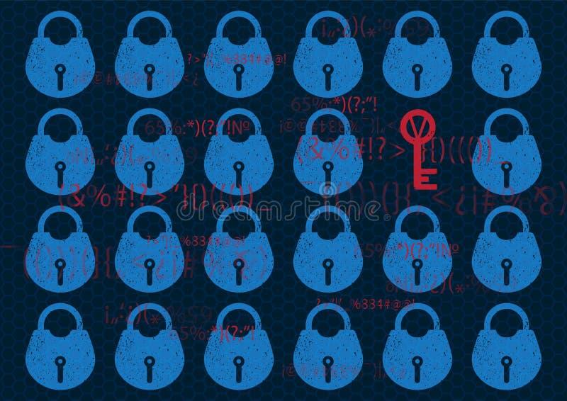 抽象技术背景全球网络安全锁 在蓝色的系统保密性与锁和钥匙 技术安全概念 皇族释放例证