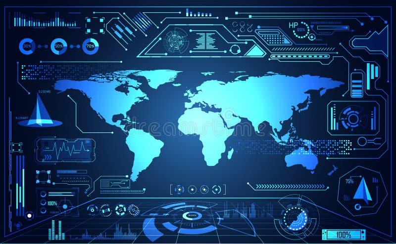 抽象技术ui未来派地图hud接口全息图ele 皇族释放例证