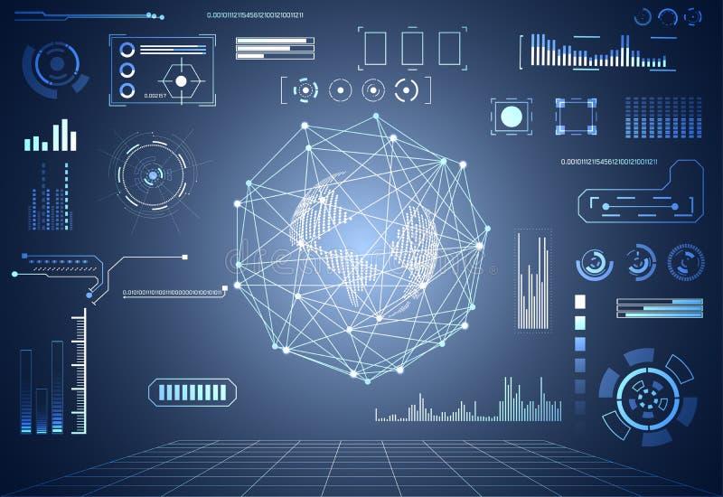 抽象技术ui未来派概念世界数字式hud inte 皇族释放例证