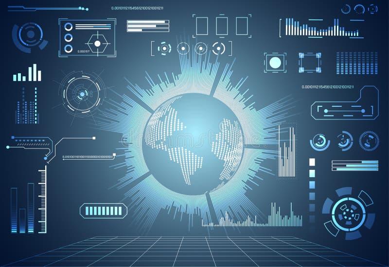 抽象技术ui未来派概念世界hud接口ho 向量例证