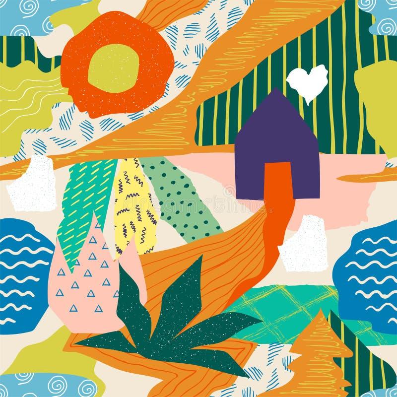 抽象拼贴画样式 无缝的乱画印刷品设计、当代异乎寻常的夏天形状和颜色 r 向量例证