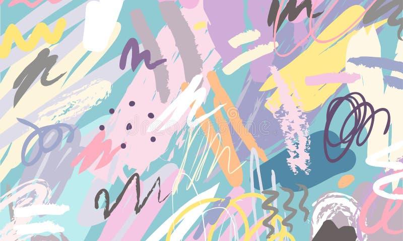 抽象拼贴画背景手拉五颜六色 美好的艺术绘画上色与手织品印刷品的图画元素, 库存例证