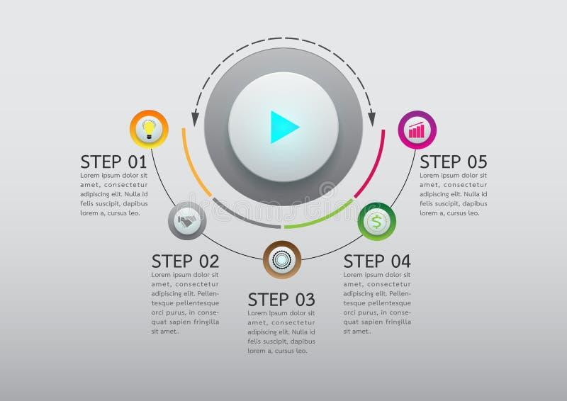 抽象按钮infographic选择模板 库存例证