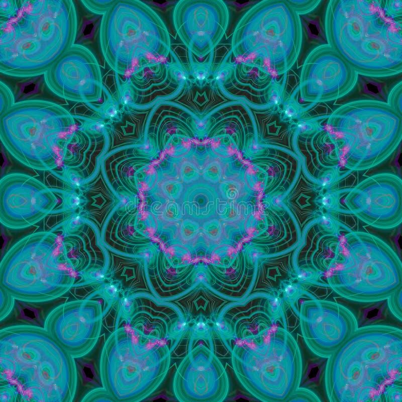 抽象数字万花筒纹理墙纸几何,时尚坛场,创造性东方的设计 向量例证