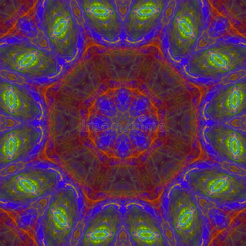 抽象数字万花筒,未来派幻想纹理对称创造性的坛场装饰的几何 库存例证