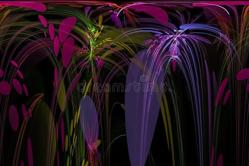 抽象数字力量图形设计闪闪发光想象力分数维幻想黑暗的美好的充满活力的混乱 向量例证