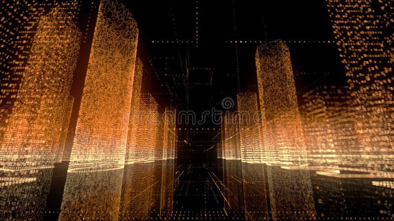 抽象数字城市明亮的霓虹模型白色的、金子和橘黄色和照相机快速的飞行穿过主要城市 库存例证