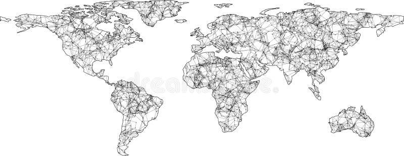 抽象数字式世界网地图 向量例证
