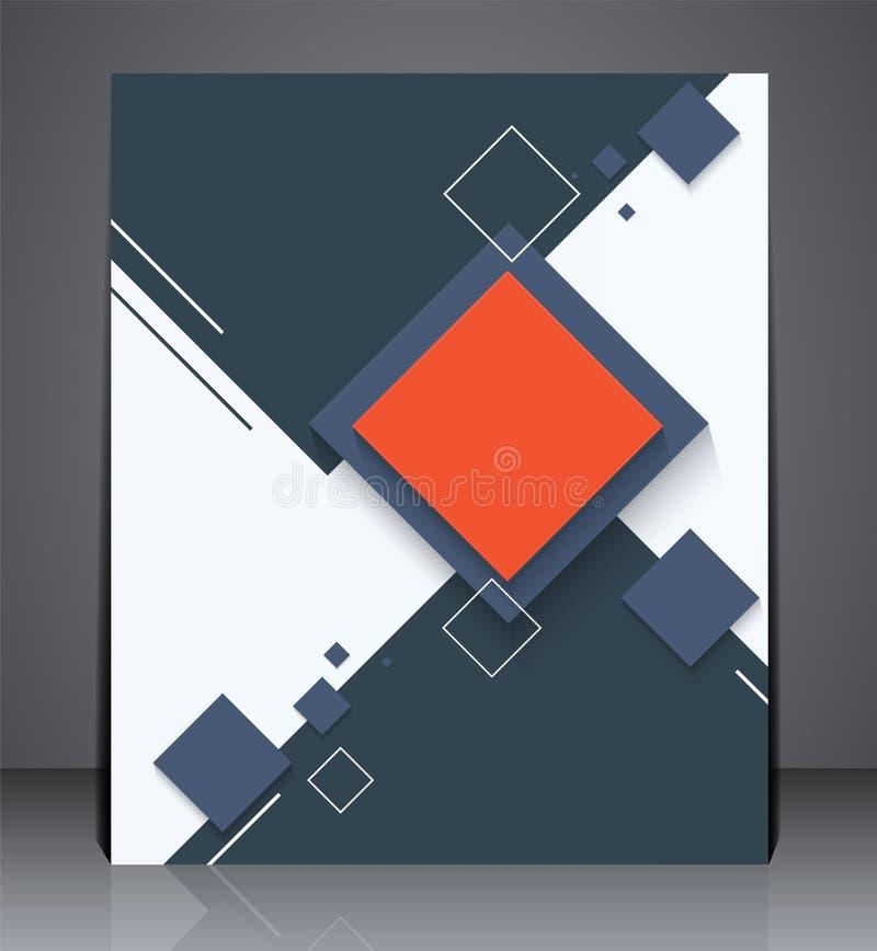 抽象数字式企业小册子飞行物,与正方形的几何设计在A4大小 向量例证