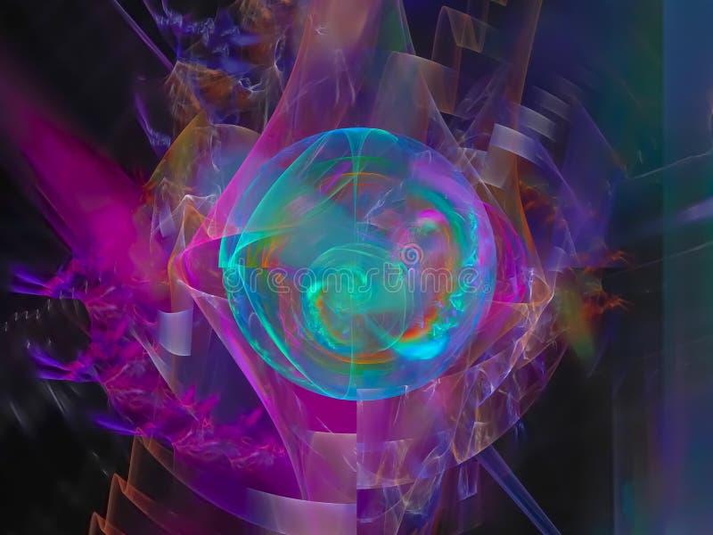 抽象数字式分数维,幻想设计,想象力形状装饰动态爆炸,欢乐不可思议的高雅 皇族释放例证