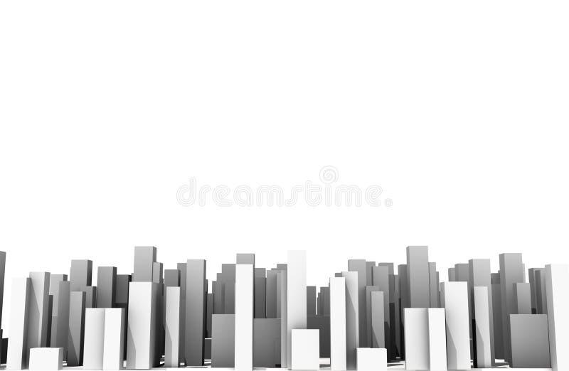 抽象数字式城市skylyne背景3D翻译 向量例证