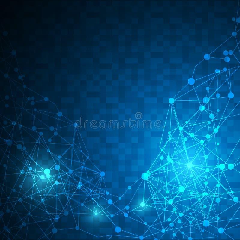 抽象数字式映象点线性网络连接纹理样式设计技术创新概念背景 皇族释放例证