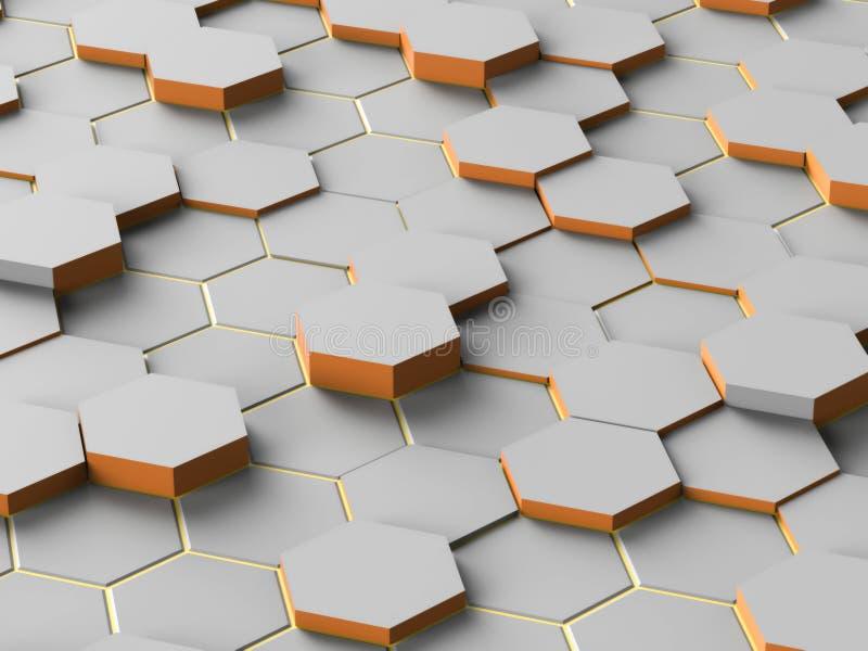 抽象数字式灰色六角形 库存例证