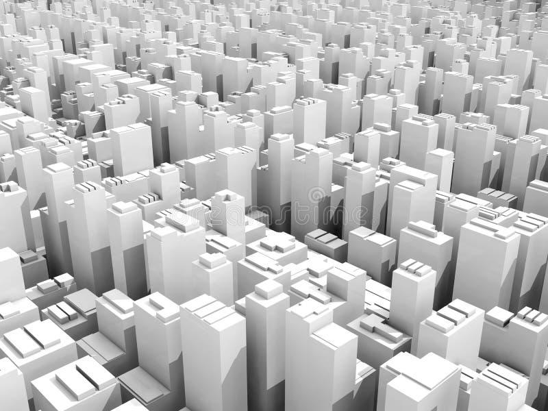 抽象数字式白色概要都市风景3d 皇族释放例证