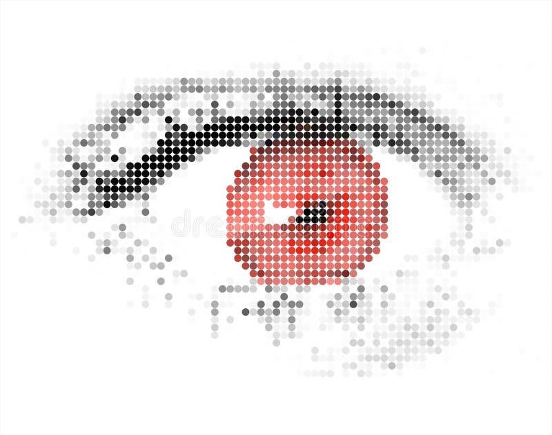 抽象数字式眼睛人力红色 库存例证