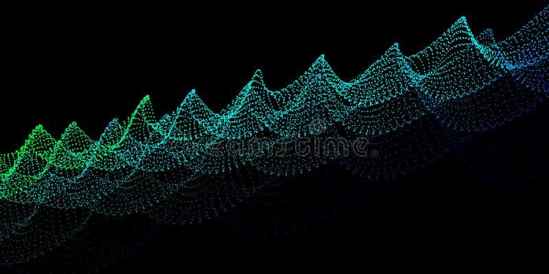 抽象数字式颜色背景 小点噪声波浪  Technolo 向量例证