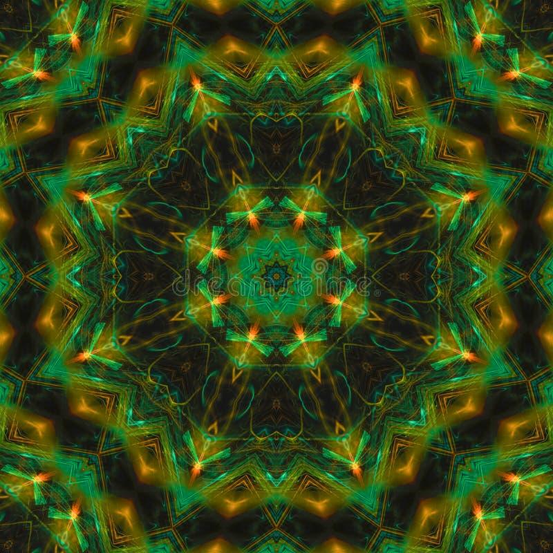 抽象数字形状万花筒,未来派幻想纹理对称创造性的坛场装饰的几何 库存例证