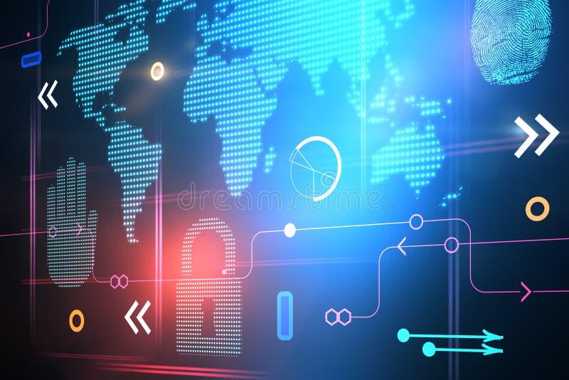 抽象数字技术元素和世界地图 免版税库存图片