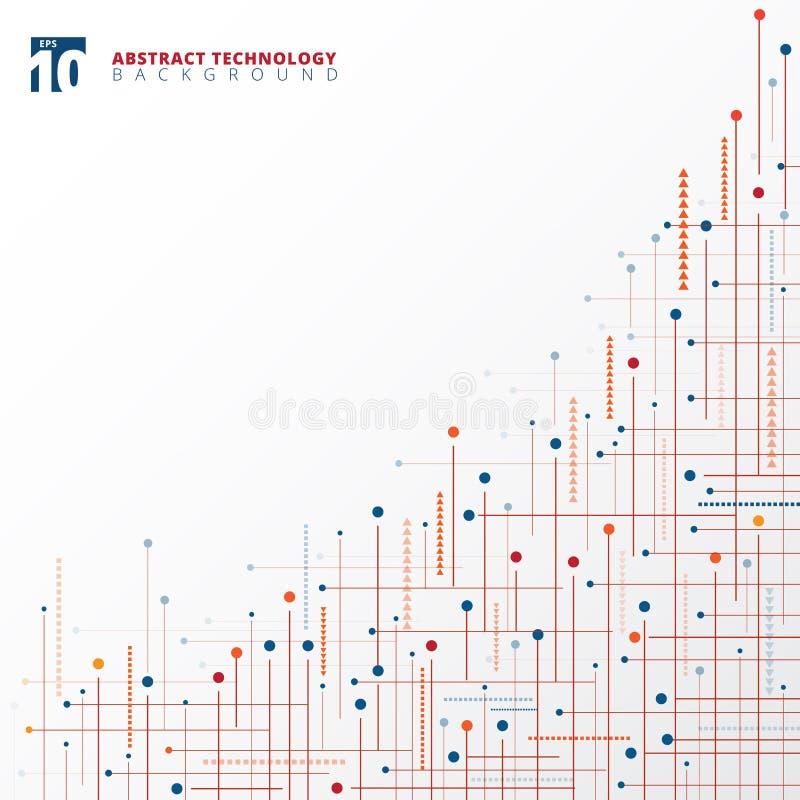 抽象数字技术蓝色和红颜色几何线d 皇族释放例证