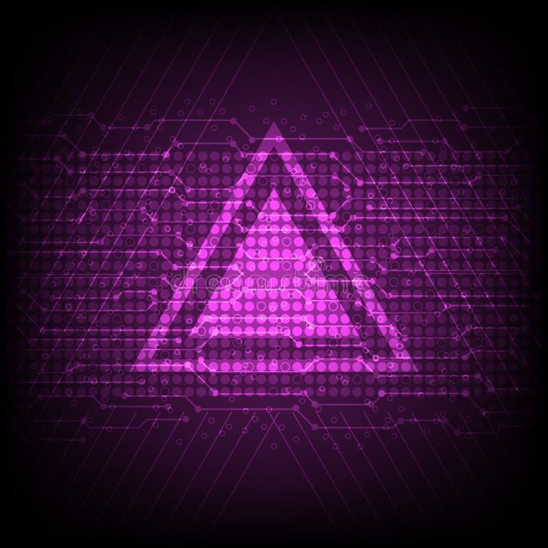 抽象数字计算机技术背景,电子线路,三角形状 库存例证