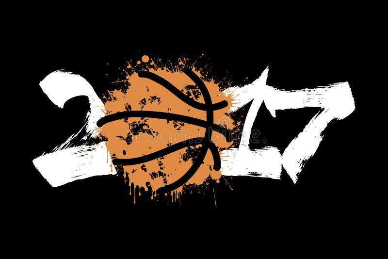 抽象数2017年和篮球 向量例证