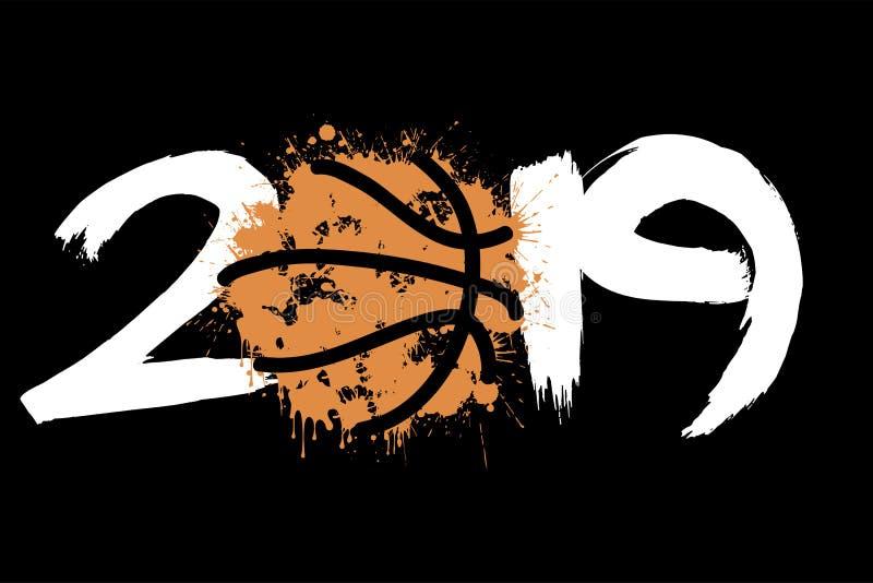 抽象数2019年和从污点的篮球 库存例证