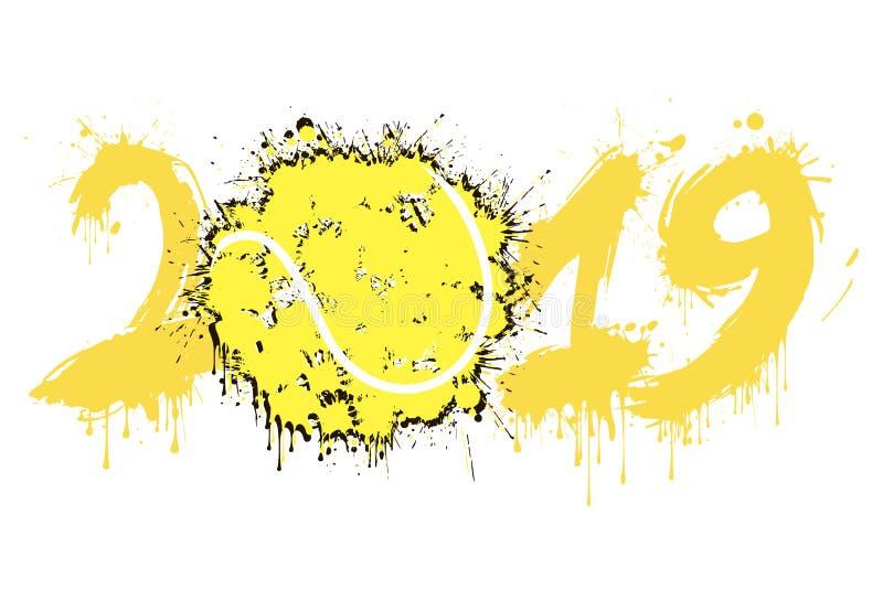 抽象数2019年和从污点的网球 库存例证